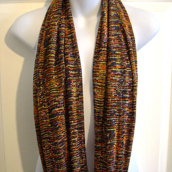 Autumn Colors Print Infinity Scarf Women Fashion Scarves Black Orange Gold Rust Fall Colours Unique Scarf Single Loop Circle Scarf Halloween