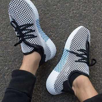 Adidas New Fashion Deerupt Running Shoes Runner Trifolium Mesh Sneakers White Surface With Blue/white Soles