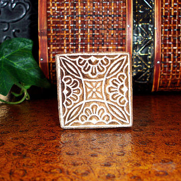 Hand Carved Wood Stamp: Square Wooden Printing Block from India, Handmade Henna Tattoo Mendhi Design