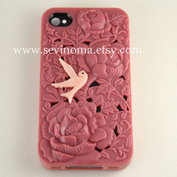 iPhone 4 Case, iPhone 4s Case, peach flower Hard iphone Case, peach iphone cases, with a cute bird