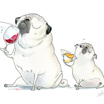 The Sommeliette Pug Art Print - Pugs, Wine Tasting, Cute Pug Drawing, Daddy and Me Nursery Art, Funny Pug Painting by InkPug!