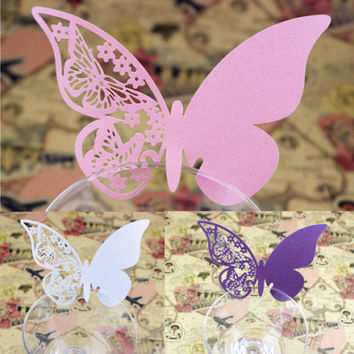 50pcs Table Mark Wine Glass Butterfly Name Place Cards Wedding Party FavorHU