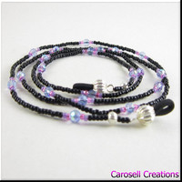 Beaded Eyeglass Holder or ID Badge Lanyard Black, Blue, Pink and Purple Beads