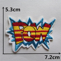 1pcs POW slogan embroidered blue iron on patches cloth accessories New arrival popular clothing cartoon Patches Appliques