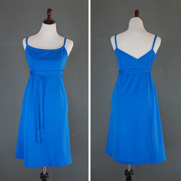 Vintage Wrap Dress / Blue Knit Dress / 1970's