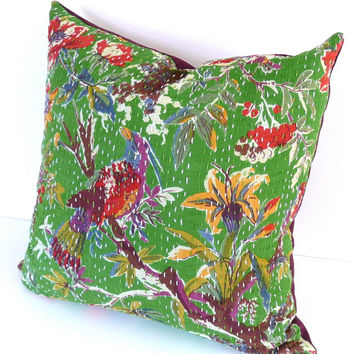 """Kantha Cloth Pillow Cover, 18"""" x 18"""": Authentic Vintage Kantha Quilt in Vibrant Green & Multi-Colored Pattern"""