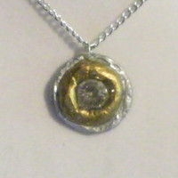 Silver and Gold Necklace, clay, pendant, round, painted, circle, circular, shiny, shinning, gloss, glossy, stunning, ooak, unique, original