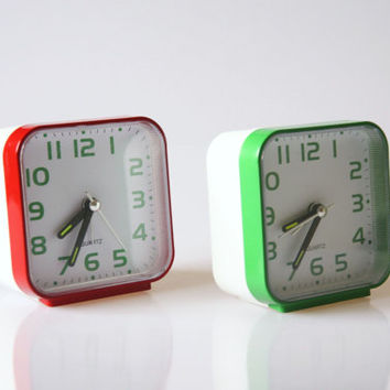 Retro alarm clocks, green and red alarm clocks, vintage bedside clocks, nightstand alarm clock, electronic clocks, funky bedroom decor