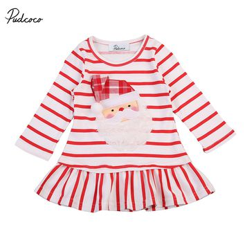 Hot Sale Christmas Baby Girls Long Sleeve Santa Claus Party Costume Striped Dress 0-5Y