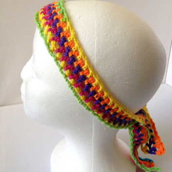 Ladies Headscarf, Rainbow Headband, Skinny Hairband, Rainbow Mesh Scarf, Multi Coloured, Beach Hair Tie, Thin Mesh Scarf, Neon Coloured band