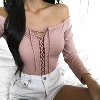 FULLY STOCKED - Trina Lace Up Top (BLUSH)