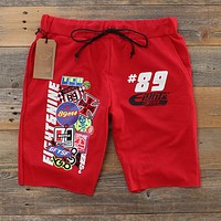 Garage Built Cut Off Terry Shorts Red