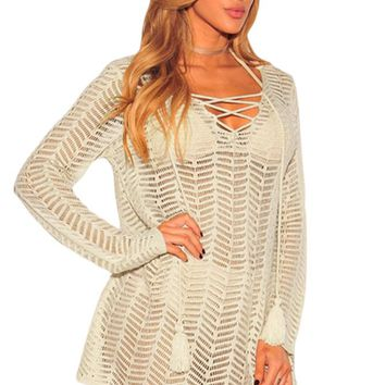 Z| Chicloth Apricot Lace up Hoodie Cover up Dress