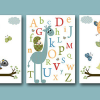 "Art for Children Kids Wall Art Baby BOY Room Decor Baby Nursery Decor Baby Boy Nursery print set of 3 8""x10"" nursery alphabet turtle giraffe"