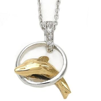 Sterling Silver 10.174.0142.18 Fancy Necklace, Dolphin Design, with White Cubic Zirconia, Polished Finish, Silver Tone