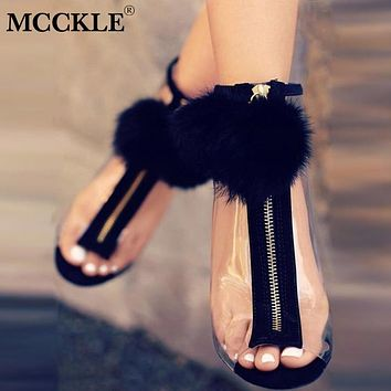 Women Faux Fur Ball Sexy Stilettos Pumps High Heels Transparent Zipper Peep Toe Party Shoes