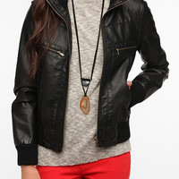 Urban Outfitters - BDG Faux Leather Ribbed Collar Bomber Jacket