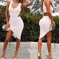 Cut Out Sleeveless Asymmetrical Body-con Dress