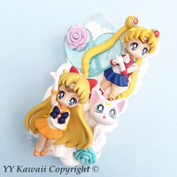 Sailor moon vs Sailor venus and Artemis Kawaii Decoden Phone Case for Iphone 4/4s, 5/5s/5c, Samsung S5 and more