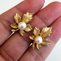 Vintage Genuine Pearl Maple Leaf Gold Tone Clip Earrings