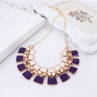 2015 Trendy Necklaces Pendants Link Chain Collar Long Plated Enamel Statement Bling & Fashion Necklace Women Jewelry XY-N104