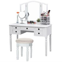 Vanity Make-up Table Set White
