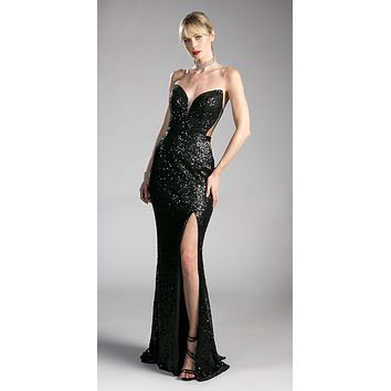 Sequins Black Strapless Evening Gown Sweetheart Neckline with Slit