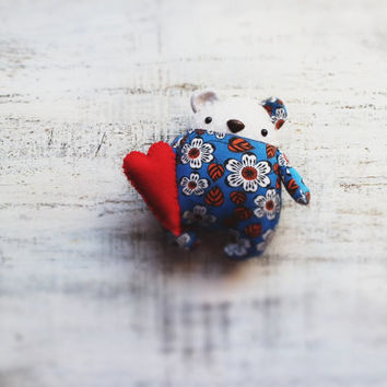 Fatsy Petsy primitive teddy bear blue orange white red heart magnet floral 6 inches baby shower gift, nursery decor Valentine's day gift