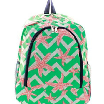 Monogrammed Backpack  Personalized Backpack  Starfish Tropical