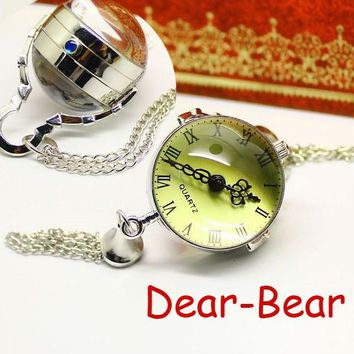 (3086)vintage steamPunk Style Silver round Ball Pocket Watch Necklace chain pendant, Dia 2.5 cm. 12 pcs/lot palace style