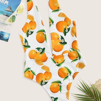 Random Orange Print Deep V-neck One Piece Swimsuit