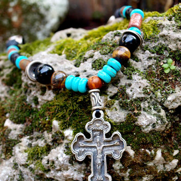 Men's Cross Necklace - Mens Chocker Cross Necklace Religious Jewelry, Black Onyx Necklace, Mens Antique silver necklace, Gift for Him