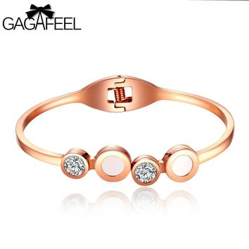 GAGAFEEL Women Jewelry Letter Diy Unique Logo Custom Engrave Bracelets For Cuff Bangle Stainless Steel Rose Gold Color Bracelet