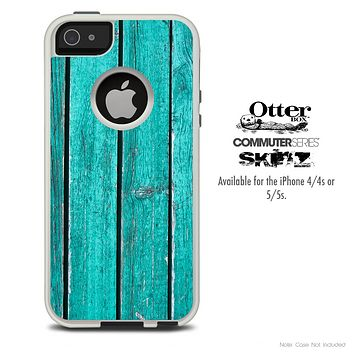 The Turquoise Wood Planks Skin For The iPhone 4-4s or 5-5s Otterbox Commuter Case