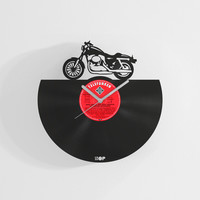 Motorcycle wall clock from upcycled vinyl record (LP) | Hand-made gift for motorcycle fan | Motorcycle lover home wall decoration, present