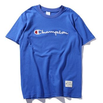 champion :letters embroidery Couple T-shirt top blue