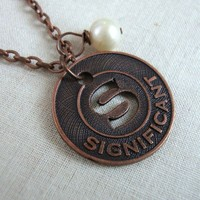 S is for Significant  Initial S Necklace in by LoveYourBling