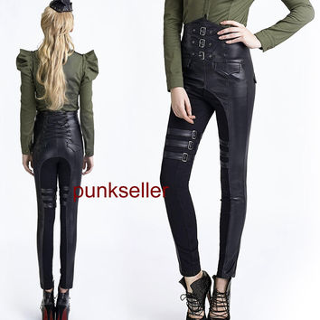 Punk Gothic Rock high waist pants Gothic sexy women Unifom steampunk trousers