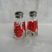 Shaker set-hand painted salt and pepper shakers-painted red Peonies