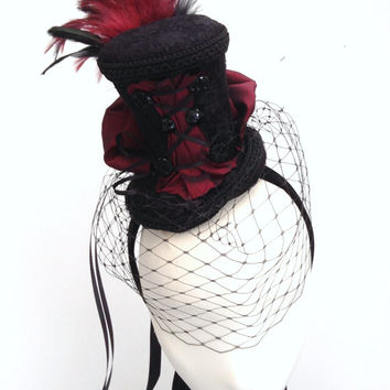Black & burgundy burlesque bustle tea hat fascinator