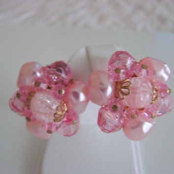 50s 60s Vintage W. Germany Pink Cluster Bead Clip Earrings / Jewelry / Jewellery