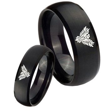 His Hers Phoenix Brush Black Dome Tungsten Carbide Wedding Rings Set