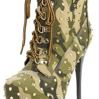 Alba Jennifer-3 Olive Camouflage Lace Up Spike Platform Ankle Boots and Shop Boots at MakeMeChic.com