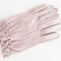Vintage Gloves Dusty Pink Womens Gloves 60s Gloves Womens Size 5 1/2 Gloves Ruffled Gloves Party Gloves Lightweight Gloves Fancy Gloves
