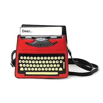 Vintage Typewriter Screen Print Vinyl Satchel Bag