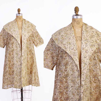Vintage 50s JACKET / 1950s Metallic Gold & Ivory Sheer Lace Swing Opera Coat
