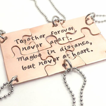 Hand Cut Copper Puzzle Piece Set - Personalized Family, Friend Bridesmaid Jewelry with Personal Hand Stamped Message
