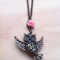 SALE 15% Off - Black Friday Small Business Saturday Cyber Monday - Happy Owl with Pink Rose Long Necklace