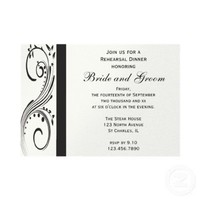 Black and White Rehearsal Dinner Invitation from Zazzle.com