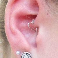 FREE CUFF with Purchase of Heart Cartilage Earring - Ear Heart Jewelry, Daith, Rook, Tragus, Snug, Helix, Forward Helix